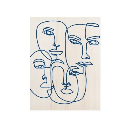 Boîte en bois Blue Faces