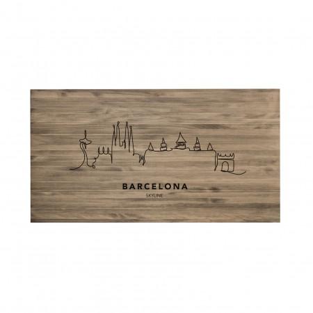 Tête de lit vieilli Barcelona Skyline