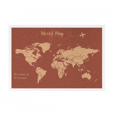 Liège carte du monde fond terre cuite
